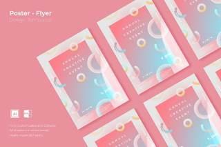 粉色抽象创意图形平面宣传折页海报设计模板AI矢量素材SRTP Poster Design.03