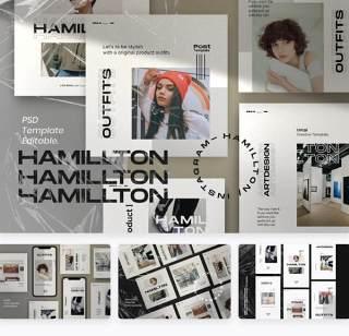 移动端服装都市时尚广告设计淘宝主图PSD素材Hamilton Pack 1- Urban Fashion Instagram + stories
