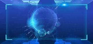 蓝色科技企业舞台会议互联网高端论坛背景PSD展板素材横版25