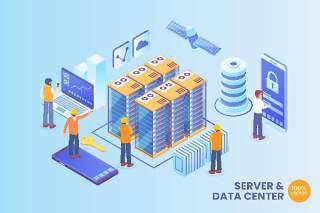 2.5D等距服务器和数据中心区块链矢量AI插画场景概念Isometric Server And Data Center Vector Concept