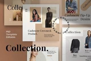 集合时尚社交媒体营销包PSD移动界面设计素材Collection Fashion Social Media Marketing pack 2