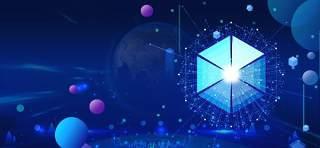 蓝色科技企业舞台会议互联网高端论坛背景PSD展板素材横版29