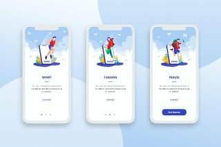 登陆屏幕移动应用程序APP界面人物生活概念插画Onboarding Screens Mobile App