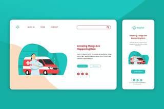 医院救护车急救登录页网页UI界面手机移动端插画APP设计矢量素材Illustration Landing Page & Onboarding Mobile App