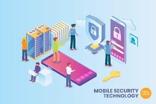 2.5D等距移动网络安全矢量插画AI素材场景概念Isometric Mobile Network Security Vector Concept