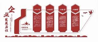 红色企业发展历程走廊文化墙宣传栏AI矢量展板设计素材