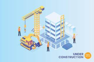 2.5D等距建设建筑工程施工现场矢量插画AI素材概念场景Isometric Under Construction Vector Concept