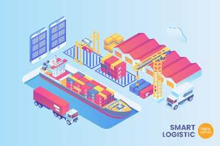 2.5D等距智能港口物流矢量插画AI素材概念场景Isometric Smart Port Logistic Vector Concept