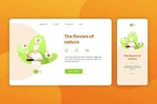 厨师美食餐饮登录页网页UI界面手机移动端人物插画APP设计矢量素材Illustration Landing Page & Onboarding Mobile App