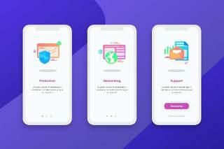 简洁登陆屏幕移动应用程序APP界面办公图标概念插画Onboarding Screens Mobile App