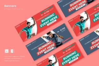 健身运动网页banner模板平面广告AI矢量抽象背景素材SRTP Banners Template.16不含配图