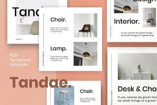 社交媒体营销包PSD界面设计素材Tandae. - Clean Social Media Marketing Pack 2