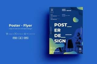 蓝色创意图形抽象海报模板封面设计AI矢量背景素材SRTP - Poster Design.v2.1