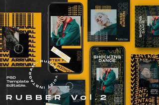 移动应用界面PSD模板设计素材Rubber Vol. 2 - Instagram KIT Template + Stories