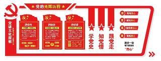 党的光辉历程党建文化墙展板PSD宣传栏设计