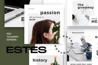 社交媒体营销包移动界面PSD设计素材ESTES - Clean Social Media Marketing Pack 1