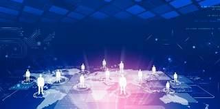 蓝色科技企业舞台会议互联网高端论坛背景PSD展板素材横版27