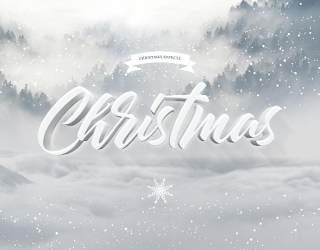 圣诞节短信艺术字体效果样式PSD素材