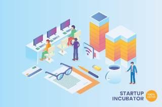 2.5D等距启动孵化器矢量插画AI素材场景概念Isometric Startup Incubator Vector Concept