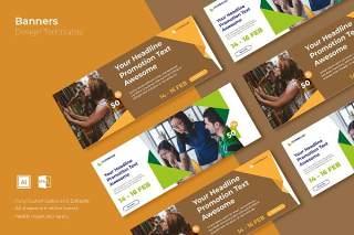 咖啡色网页banner模板平面广告AI矢量抽象背景素材SRTP Banners Template.26不含配图