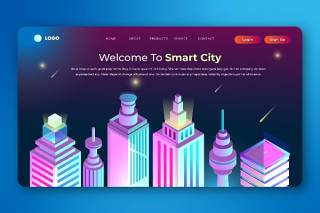 2.5D插画等距登录页创意智慧城市数字概念WEB网页界面模板设计AI矢量素材Isometric Landing Page
