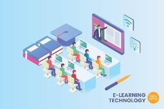 2.5D等距在线学习技术矢量插画AI素材概念场景Isometric E-Learning Technology Vector Concept