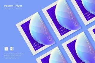 抽象创意图形平面宣传折页海报设计模板AI矢量素材SRTP Poster Design.02