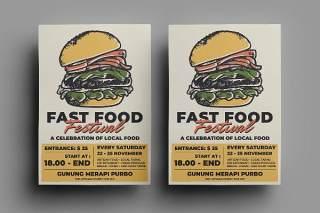 快餐汉堡传单宣传页设计促销折扣单页AI矢量素材Fast Food Flyer Design.18