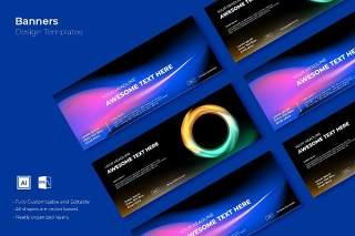 深色渐变科技感网页banner模板平面广告AI矢量抽象背景素材SRTP Banners Template.30