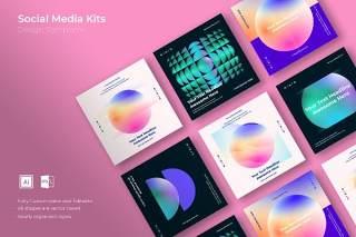渐变色正方形创意图形抽象社交媒体海报封面设计AI矢量背景素材SRTP Social media taks 3 des 03