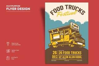 食品车传单宣传页设计促销折扣单页AI矢量素材Flyer Design Vol.12