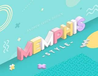 立体孟菲斯风格的文本效果艺术字体效果样式PSD素材