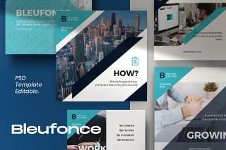 企业社交媒体工具包PSD移动界面设计素材Bluefonce Pack 1- Corporate Social media Kit