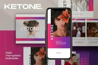 图片分享平台移动端应用界面模板PSD设计素材Ketone Pack 2 - Instagram Post + Stories