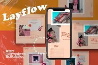 社交媒体模板移动端PSD界面设计素材Layflow - Instagram Social Media Template