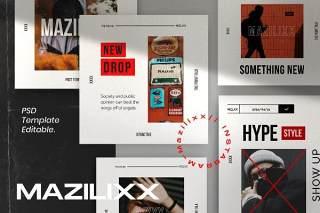 社交媒体PSD界面设计素材Mazilixx Pack 2 - Instagram Social Media + Stories