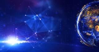 蓝色科技企业舞台会议互联网高端论坛背景PSD展板素材横版22
