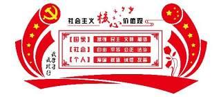 红色党建文化墙社会主义核心价值观宣传栏psd设计素材