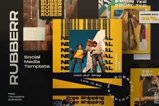 移动端社交媒体工具包PSD设计素材模板RUBBERR - Social media Template + Stories