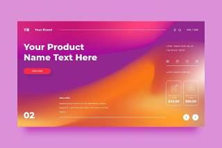 紫黄色网站UX和UI套件渐变抽象背景界面设计平面AI矢量素材SRTP Abstract Background.23