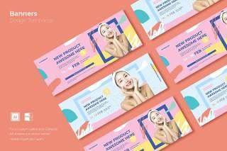 彩色活泼网页banner模板平面广告AI矢量抽象背景素材SRTP Banners Template.15