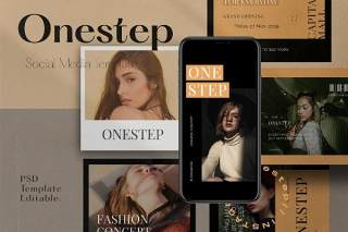 移动端应用界面PSD设计素材One Step PACK 1 - Instagram Template + Stories