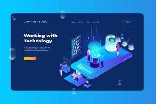 蓝色2.5D插画等距登录页创意实用技术科技数字概念WEB网页界面模板设计AI矢量素材Isometric Landing Page