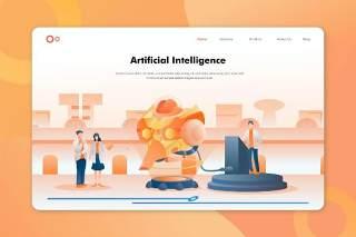 人工智能人物插画登录页AI矢量网页界面素材Hero Header Illustration Landing Pages