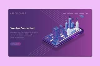 紫色2.5D插画等距登录页创意城市建设展示数字概念WEB网页界面模板设计AI矢量素材Isometric Landing Page