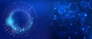 蓝色科技企业舞台会议互联网高端论坛背景PSD展板素材横版24