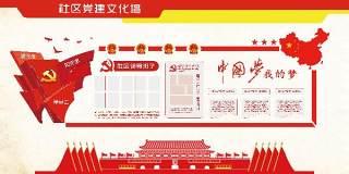 社区党建文化墙宣传栏PSD设计素材展板
