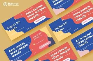 莫兰迪色系网页banner模板平面广告AI矢量抽象背景素材ADL Banner Templates.23