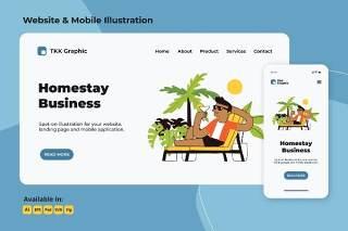 在寄宿家庭度假放松网站和手机界面设计矢量插画素材Relaxing in homestay web and mobile
