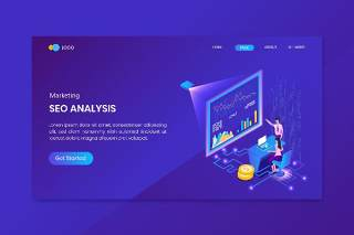 蓝色现代平面设计3D插图分析营销等距概念登陆页面矢量素材UI界面Analysis Marketing Isometric Concept Landing Page